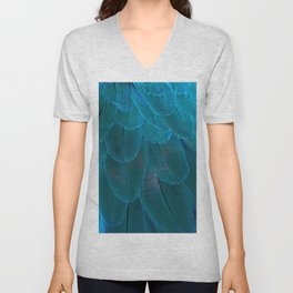 Bright Blue Feathers Abstract Pattern Unisex V-Neck