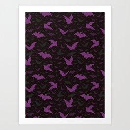 Flying Purple Halloween Bats Vector Pattern Art Print