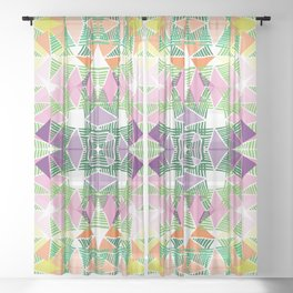 Colorful Tropical Abstract Zenspire Geometrical Pattern Sheer Curtain