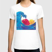 hokusai T-shirts featuring Hokusai Rainbow & Hibiscus_YR by FACTORIE