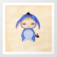 eeyore Art Prints featuring A Boy - Eeyore by Christophe Chiozzi