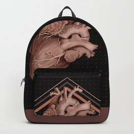 Anatomical Human Heart - Black and Old Rose Backpack