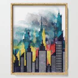 New York City Skyscrapers In Watercolor Art, Travel Digital Download, New York Poster, Wall Art Home Serving Tray
