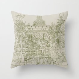 Paris! Musty Throw Pillow