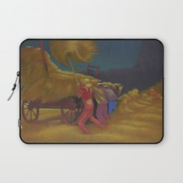 Race Against the Rain - Haying Before the Storm landscape painting by Bernard Steffen Laptop Sleeve