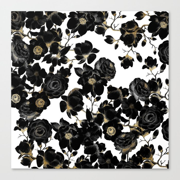 Modern Elegant Black White and Gold Floral Pattern Leinwanddruck