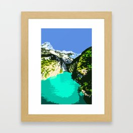 Mountains, River and Blue Sky Framed Art Print