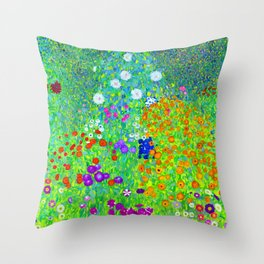 Gustav Klimt Cottage Garden Throw Pillow