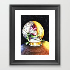 Green Drummer Crazy Mask Framed Art Print