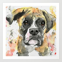 Brindle Boxer Artwork Art Print