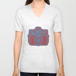 I Still Shoot Film Holga Logo - Blue & Red Unisex V-Neck