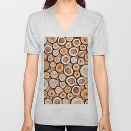 A Pattern Of Wooden Cuttings Unisex V-Neck