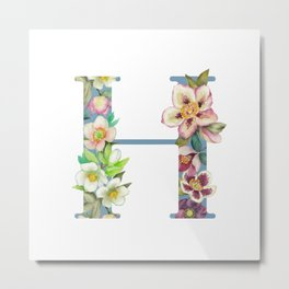 Floral Monogram Collection H Metal Print