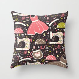 Vintage Sewing Throw Pillow
