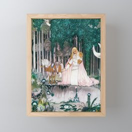 Kay Nielsen - Prince Who Notices Lassi On The Tree Trying To Drink Water In The Fountain Framed Mini Art Print