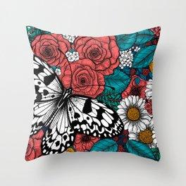 Paper kite garden Throw Pillow