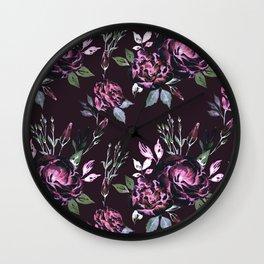 Lisianthus Dark Pink Pattern Wall Clock