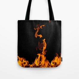 Fire flames on black Tote Bag