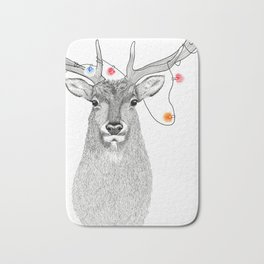 Elk with colourful lights around his antlers in a stippling style Bath Mat