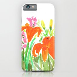 Orange Summer Lilies and Pink Flowers / Wildflowers / Summer Fields of Flowers iPhone Case