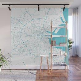 White on Turquoise Dublin Street Map Wall Mural