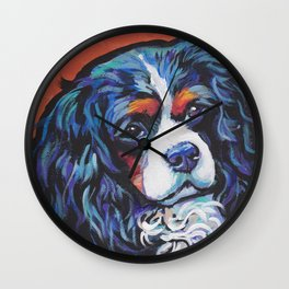 Fun Cavalier King Charles Spaniel Dog bright colorful Pop Art by LEA Wall Clock