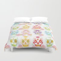sugar skulls Duvet Covers featuring Sugar Skulls by Bird & Bow Studios