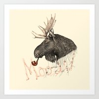 moose Art Prints featuring moose by dogooder