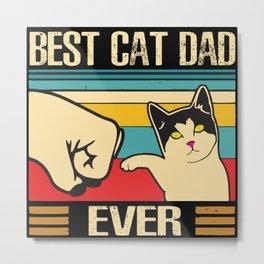 Vintage Best Cat Dad Ever  Metal Print