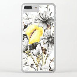 Poppies And Chicory Wildflower Bouquet Clear iPhone Case