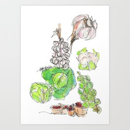 Fresh II: a watercolor of the bounty at Quebec City's farmers' market Art Print
