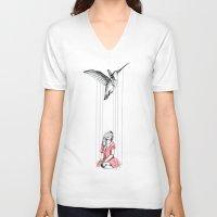 hummingbird V-neck T-shirts featuring Hummingbird by Libby Watkins Illustration