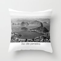 rio de janeiro Throw Pillows featuring Rio De Janeiro by ricardoaguiar