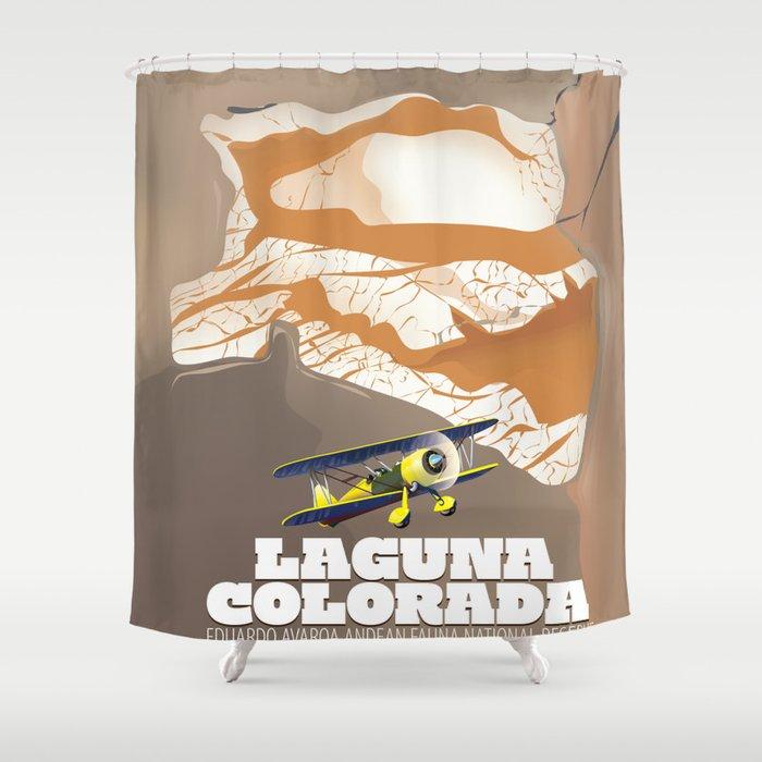 Laguna Colorada Bolivia beautiful salt lake travel poster. Shower Curtain