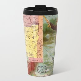 Vintage Map of Oregon with Illustrations (1890) Travel Mug