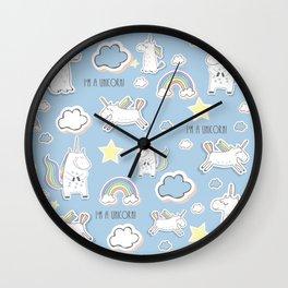 I'm a Unicorn - blue Wall Clock