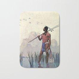 """N C Wyeth Vintage Western Painting """"Spear Fishing"""" Bath Mat"""
