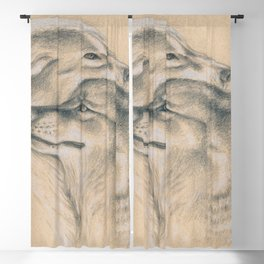 Wild Souls Snuggling Wolves Drawing Blackout Curtain