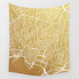 Gold Oslo map Wall Tapestry