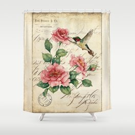 Vintage Roses Print Hummingbird Art Love Quote Rustic Decor Valentine Gift Shower Curtain