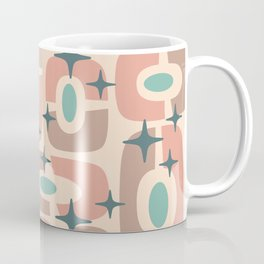 Mid Century Modern Cosmic Abstract 349 Dusty Rose,Teal Turquoise and Beige Coffee Mug