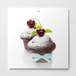 fresh chocolate muffins with cherry Metal Print