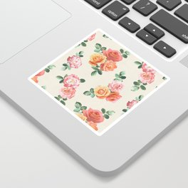 Retro Peach and Pink Roses Sticker