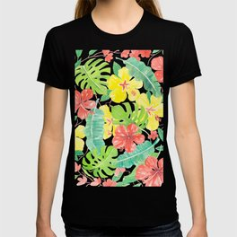 Tropical garden, hibisus, plumeria and palm leaves T-shirt