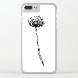 Simple Flower Outline Print - Continuous Line Art Clear iPhone Case