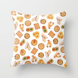 Biscuits, cookies, sweets and pastries Illustration | Food illustration Throw Pillow