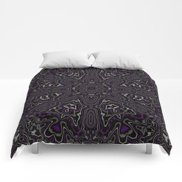 Purple, Gray, and Black Kaleidoscope Comforters