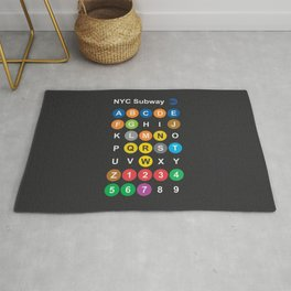 New York City subway alphabet map, NYC, lettering illustration, dark version, usa typography Rug