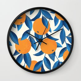 Vintage oranges on a branch with leaves hand drawn illustration pattern Wall Clock