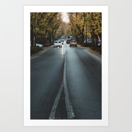 Cars on the streets of Subotica, Serbia // fall // autumn Art Print